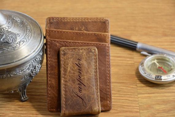 a25026c8c0cd Leather Money Clip Wallet Money Clip Personalized Clip Wallet Personalized  Wallet Credit Card Handmade Wallet