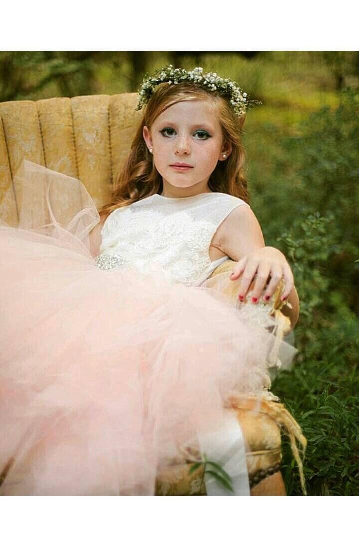 "Mariage - Blush pink flower girl dress ""Angelique"" with ivory sheer net, ivory lace, pouffy pale blush tulle skirt, rhinestone sash, birthday dress"