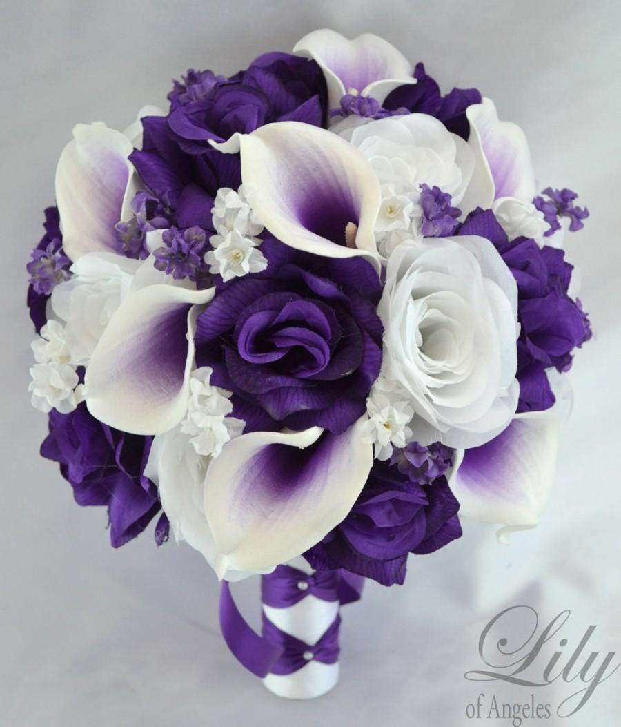 Bridal bouquets wedding 17 piece package bouquet silk flowers bride bridal bouquets wedding 17 piece package bouquet silk flowers bride groom real touch picasso calla lily purple white lily of angeles wtpu05 mightylinksfo