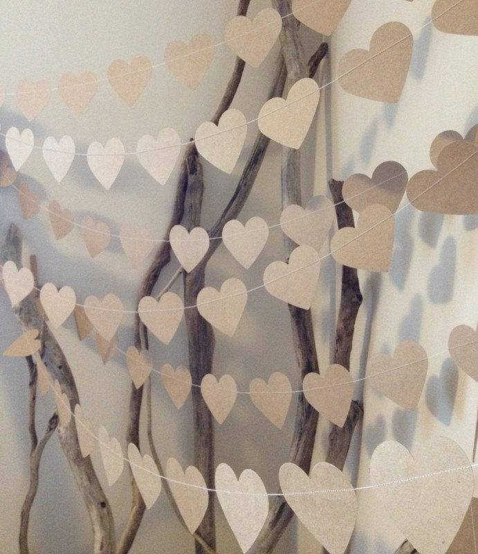 Shabby Chic Wedding Reception Ideas: 10 Metres Large Natural Shabby Chic Heart Garland