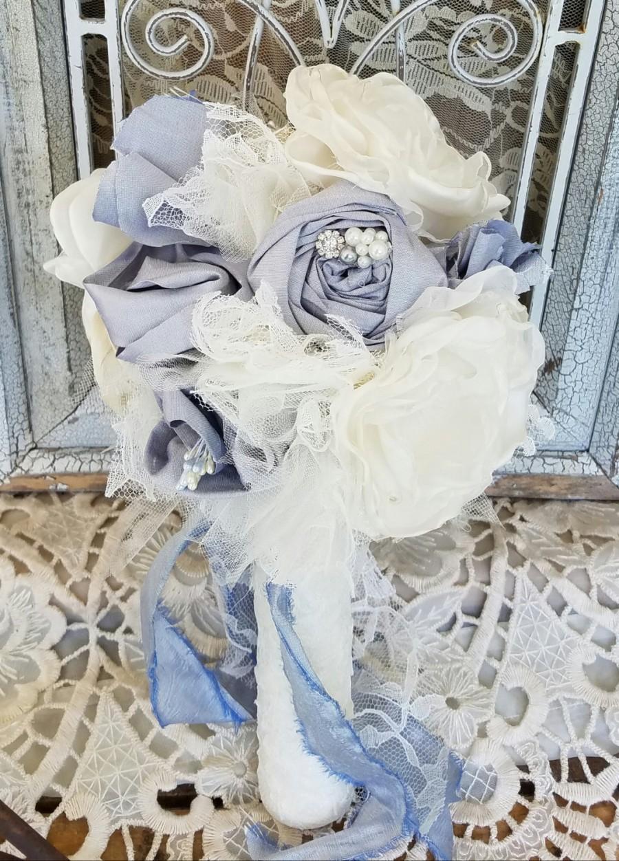 Silk Flower Bouquet, Dusty Blue Bridal Bouquet , Alternative Bouquet ...