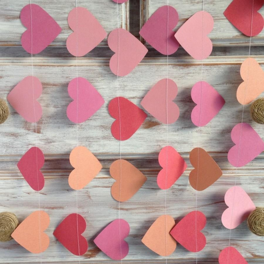 10 metres tropical collection coral crush pink large heart for Shabby chic garland lights