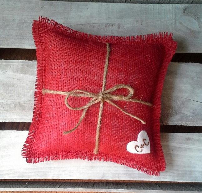 "Mariage - 8"" x 8"" Red Burlap Ring Bearer Pillow w/ Jute Twine and Wool Felt Heart-Personalize w/ Initials- Rustic/Country/Shabby Chic/Folk/Wedding"