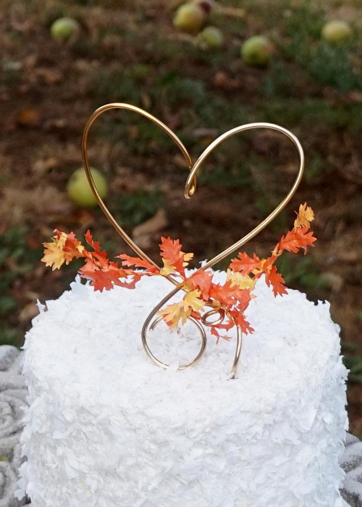 Nozze - Fall Cake Topper With Autumn Leaves, Romantic Theme Decor