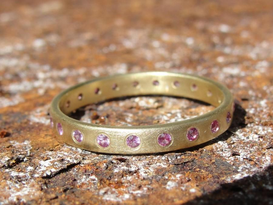 Sapphire Ring Gold Wedding Band Eternity Anniversary And Pink