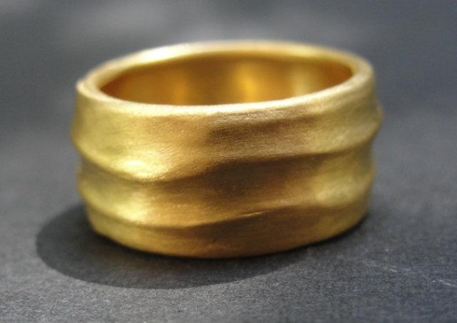 Mariage - Wedding Ring - Gold Wedding Band - 18k Gold Waves Wedding Band