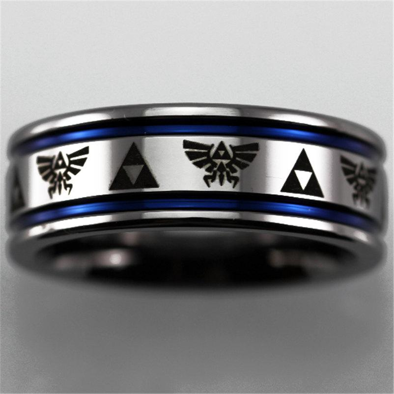 Mariage - Free Engraving Top Quality Legend of Zelda Design Silver Pipe With 2 Blue Lines Men's Tungsten Ring Comfort Fit Design His/Her Wedding Ring
