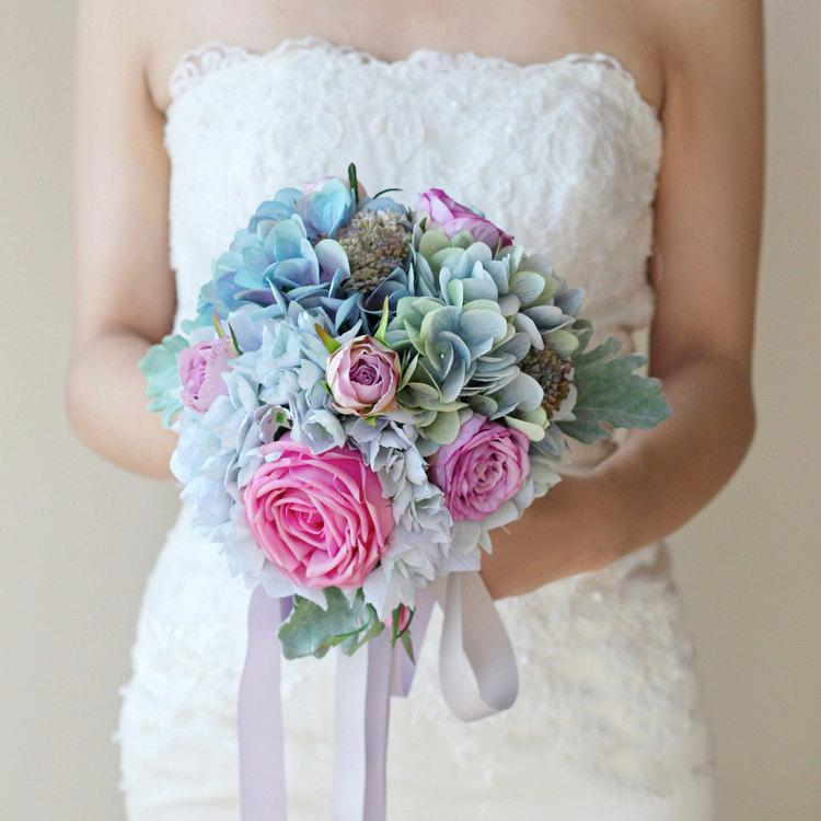 Silk Wedding Bouquet Blue And Pink Bridal Artifical Roses Purple Hydrangeas