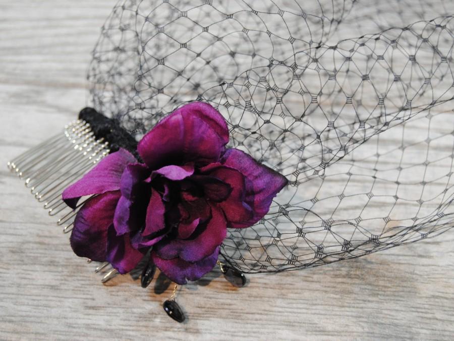 Свадьба - Black Funeral Veil - Purple Mourning Veil - Crystal Veil - Halloween Veil - Crystal Funeral Veil - Black Wedding Veil - Isla