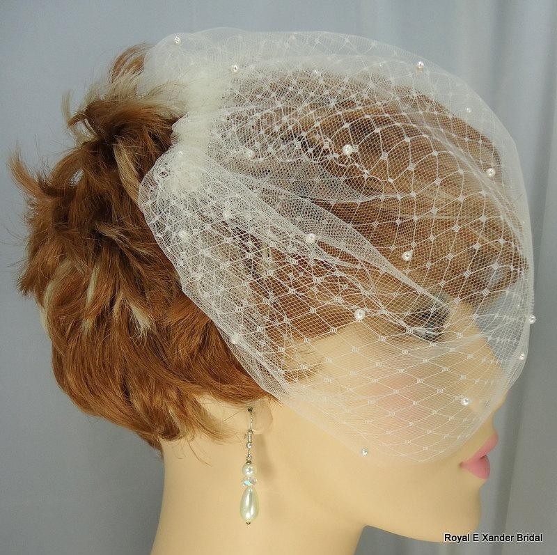 Mariage - Bridal Veil, Double Layer Veil, Russian Veiling Illusion Tulle Bridal Veil, Pearl Accent Veil, Wedding Veil, REX14-2062P9
