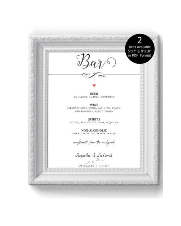 Mariage - DIY Wedding Bar Menu Sign Printable, Bar sign, poster, Editable sign, Wedding Signage, Digital Instant Download,  Dangling Heart -1
