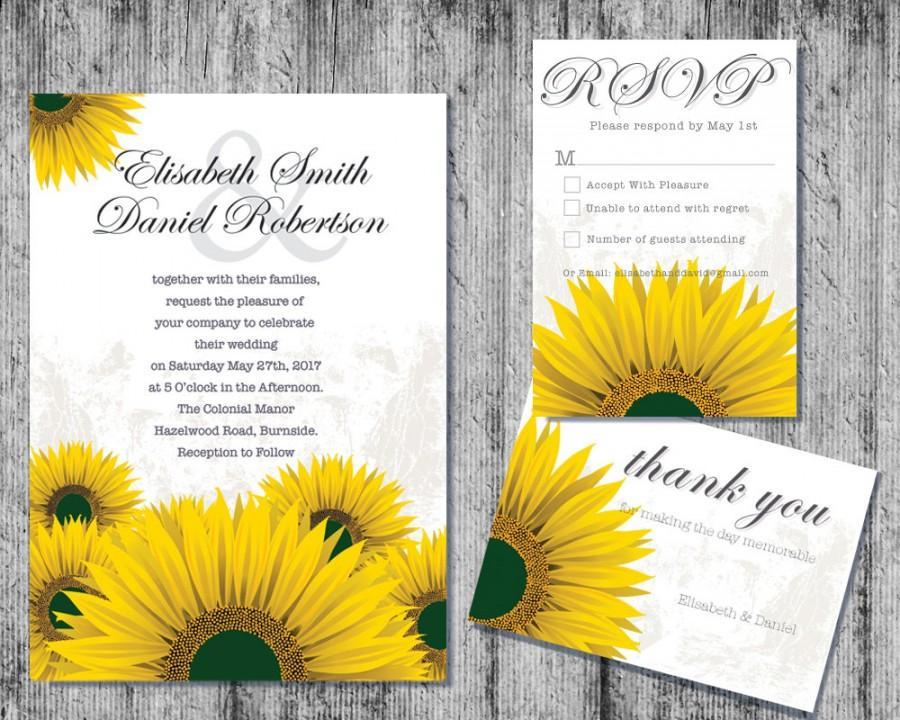 Mariage - Downloadable Wedding Invitation, Printable Wedding Invitation, DIY Wedding Invitation,Sunflower Wedding Invitation, Downloadable Invitations
