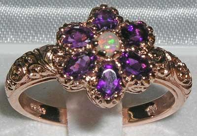 Mariage - 9K 9ct Rose Gold Fiery Opal & Amethyst Cluster Flower Engagement Ring, English Vintage Victorian Style Carved Ring - Customizable
