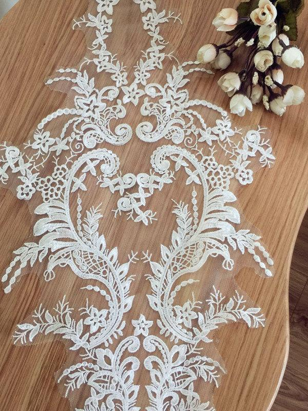 Свадьба - Wedding Lace Applique, Bridal Gown Applique, Ivory Lace Applique, Floral Embroidery Lace Applique