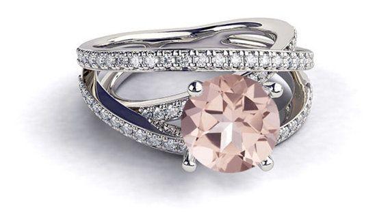 Hochzeit - Platinum Morganite Engagement Ring