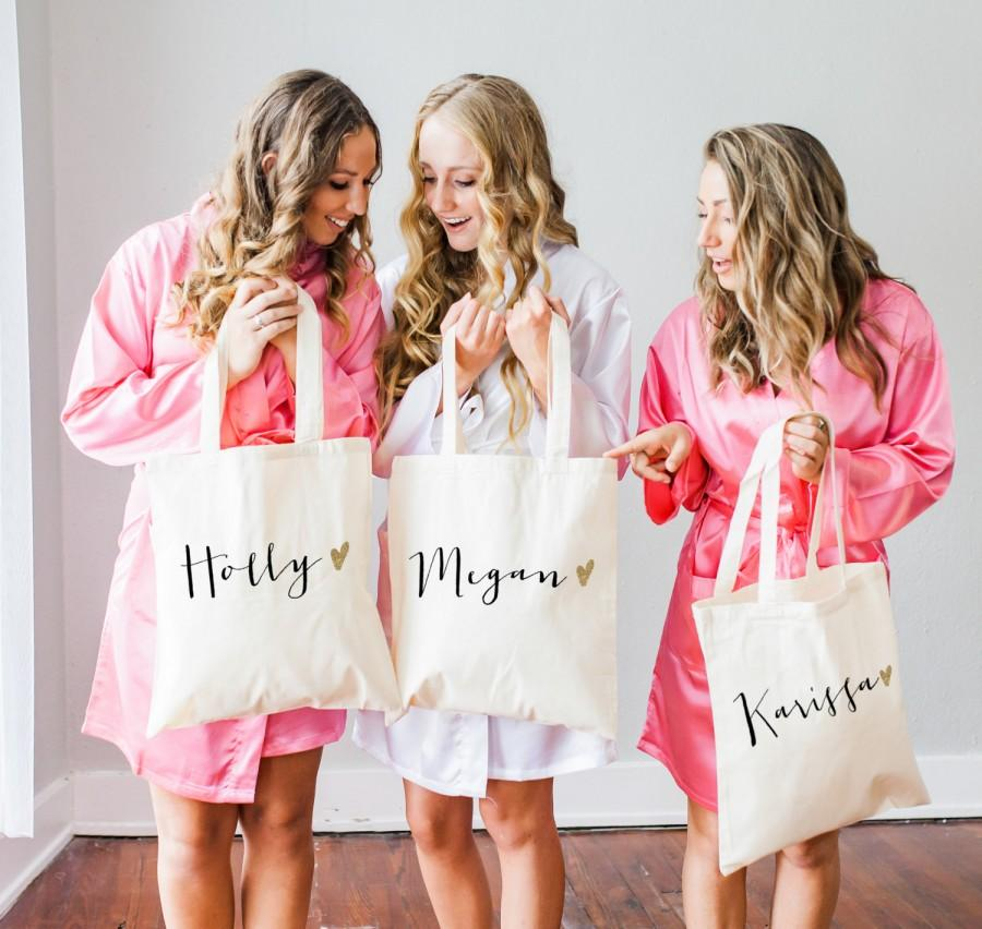Personalized Bag Gift For Bridesmaids Name Tote Bags Canvas W