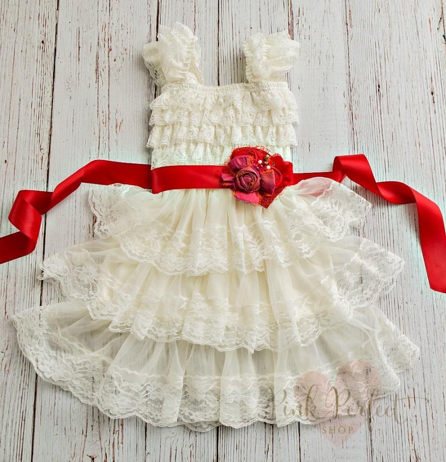 5806578473e2 Flower girl dress Christmas , rustic flower girl dress,country flower girl  dress, baby dress toddler,ivory lace dress,Girl Christmas dress,