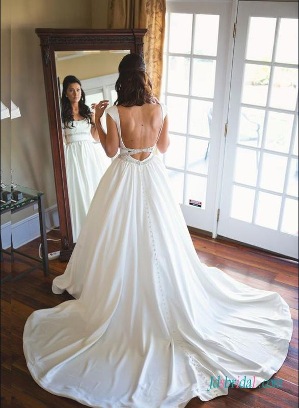 Mariage - Unique simple backless satin cap sleeved wedding dress