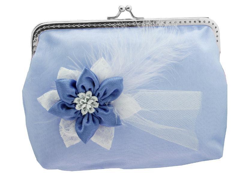 Mariage - Blue satin bridal handbag, frame clutch bag, womens purse, evening clutch, clutch small bag, party clutch, womens clutch purse 0011A
