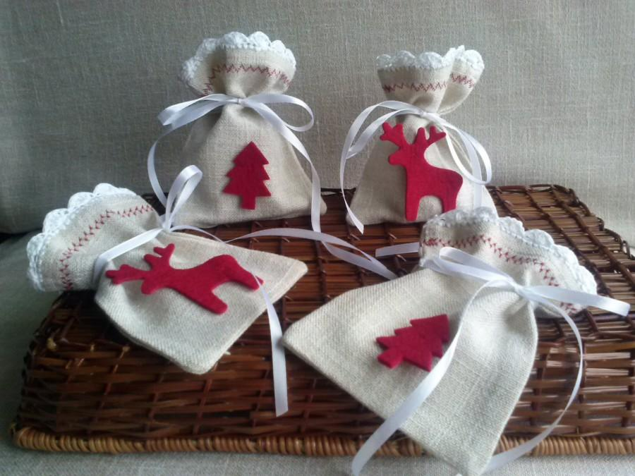 Свадьба - Christmas gifts Linen bags , Natural linen bag, jewelry packaging, linen wrap, Linen Bags with Lace, Small linen bags. Christmas bags, Gift