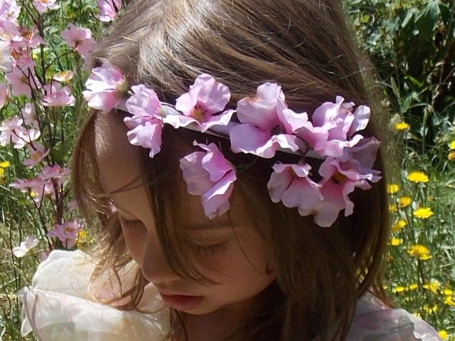 Pink Dogwood Fairy Flower Headband Garland Crown Pink Flower Crown