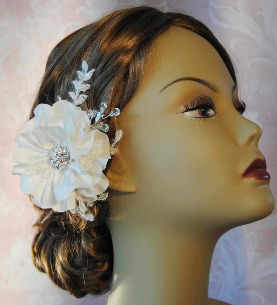 Wedding - Ivory Hair Flower, Bridal Fascinator, Wedding Hair Clip, Silk Flower with Rhinestones and Lace, White, Champagne - SHANNON