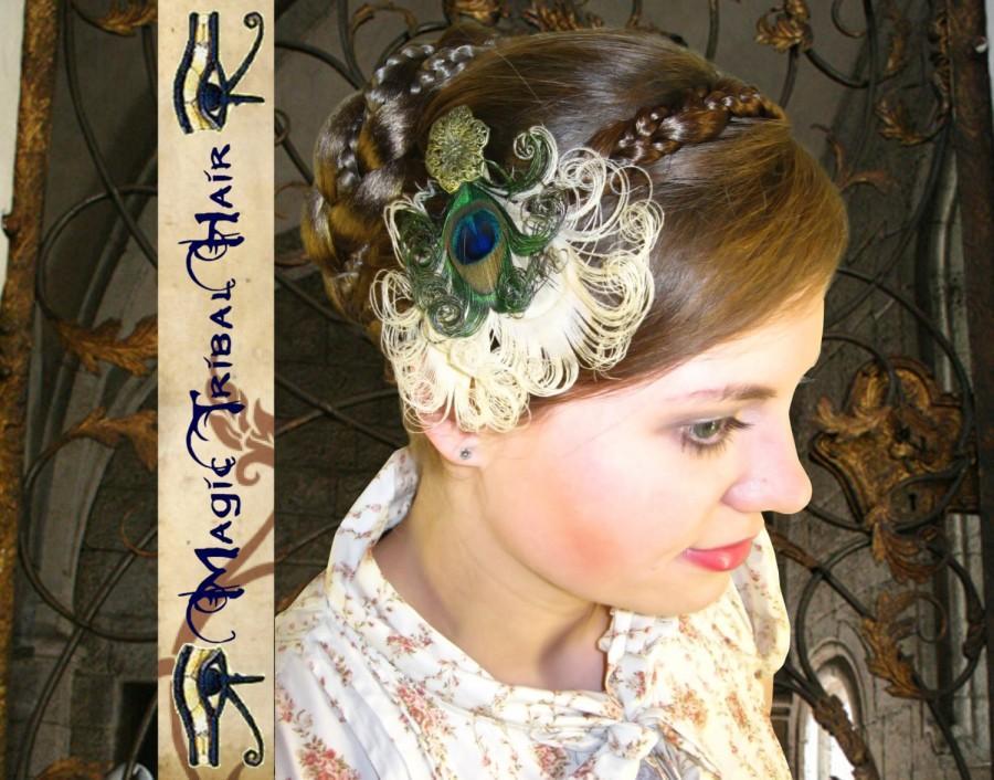 Свадьба - WHITE Steampunk PEACOCK HEART Feather Fascinator Goth head piece Fairy elf Larp costume accessory Fantasy hair jewelry Pinup Dita