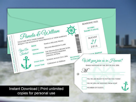 Diy Printable Wedding Boarding Pass Luggage Tag Template #2602585