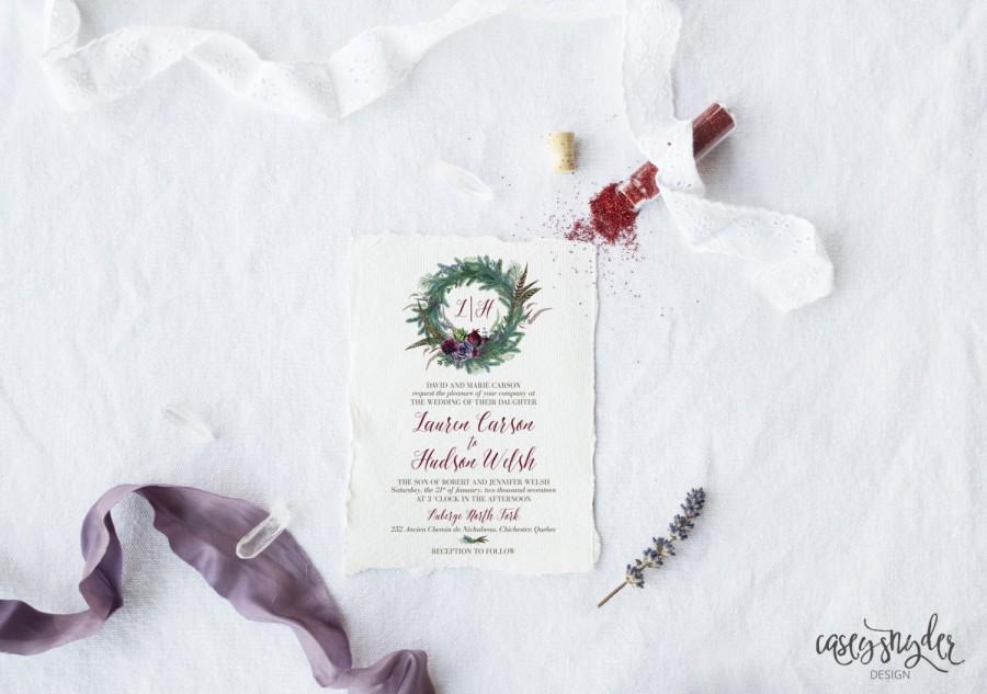 Свадьба - DIY Printable Watercolor Winter Boho Wedding Invitation Suite