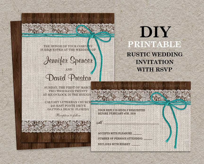 Свадьба - Printable Rustic Wedding Invitation With RSVP Card