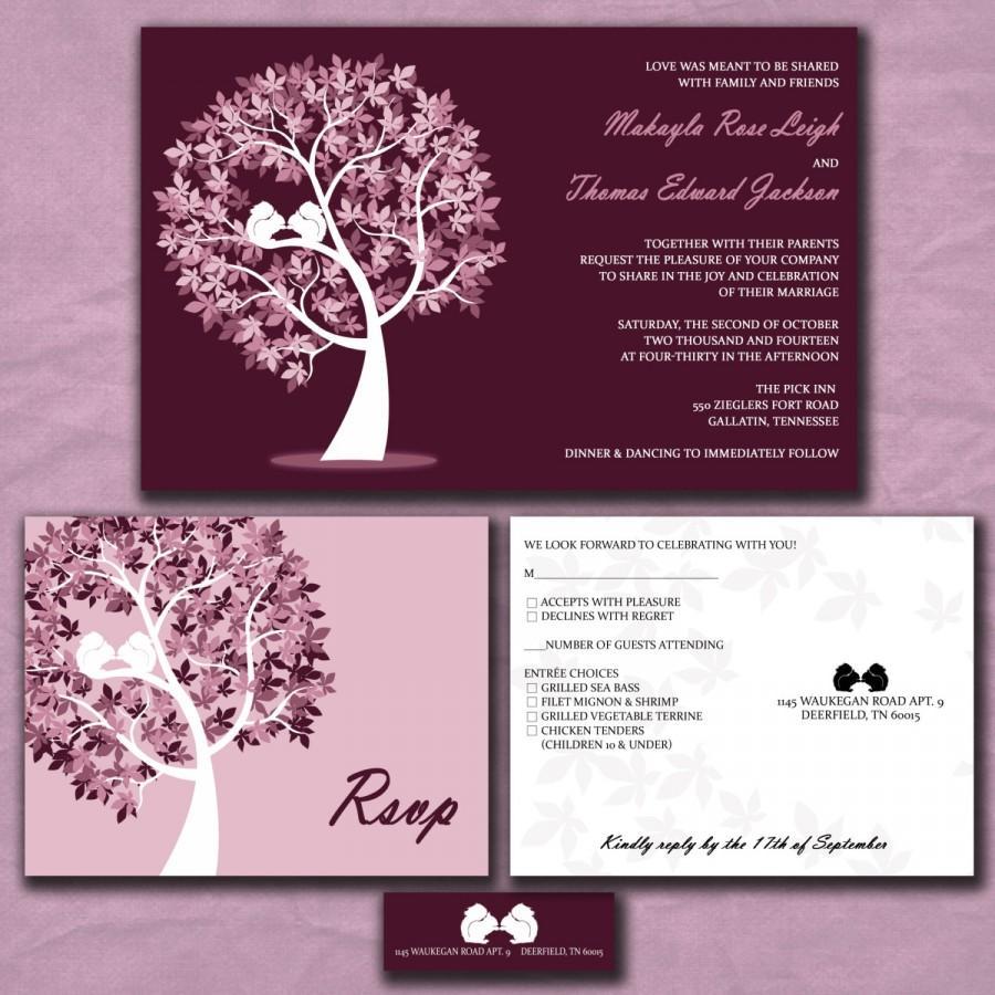 Mariage - Wedding Invitations - Fall Wedding - Squirrels in a Tree - Lilac and Eggplant Purple - Custom Colors