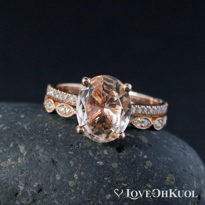 Mariage - Oval Pink Morganite Solitaire Ring and Vintage inspired Milgrain Leaf Wedding Band Set - 14kt Rose Gold
