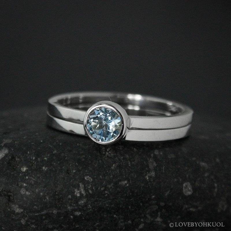 Mariage - Round Aquamarine Engagement Ring Set – Choose Your Setting