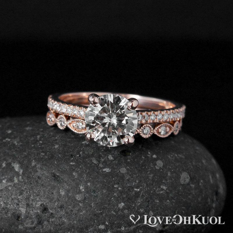 forever brilliant moissanite vintage wedding ring set half eternity band 14k rose gold - Vintage Wedding Ring Set