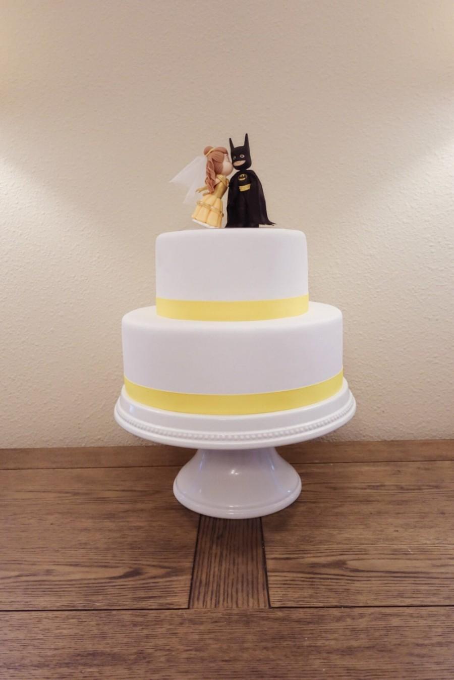 Свадьба - Belle (Light Brown Hair) and Batman Cake Topper. Wedding Cake Topper. Belle & Batman.