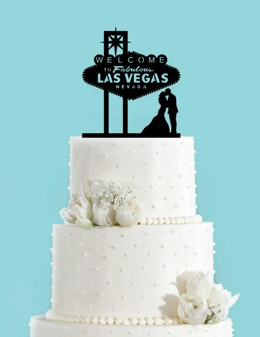 Famous Las Vegas Sign And Couple Kissing Acrylic Wedding Cake Topper ...