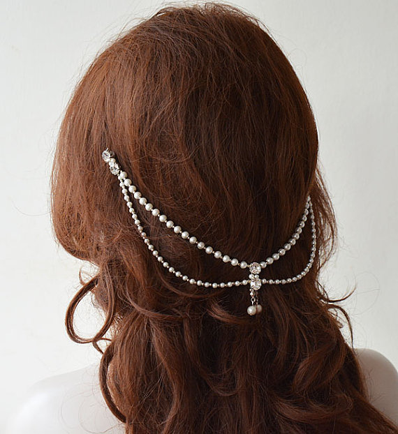 Wedding - Bridal Hair Accessory, Bridal Head Chain, Pearl Hair Jewelry, Bridal Headpiece, Wedding Headpiece, Wedding Headband