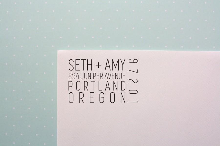 Mariage - Ticket Inspired Address Stamp // Modern Address Stamp // Return Address Stamp // Modern Wedding Stamp