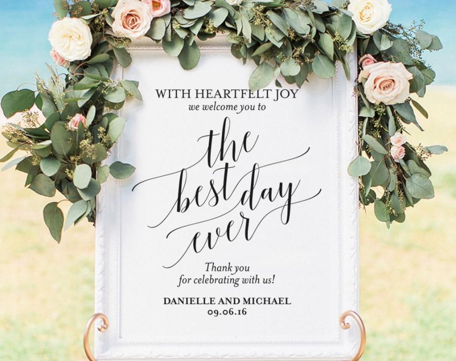 Welcome Wedding Sign Welcome Wedding Printable Best Day Ever Sign