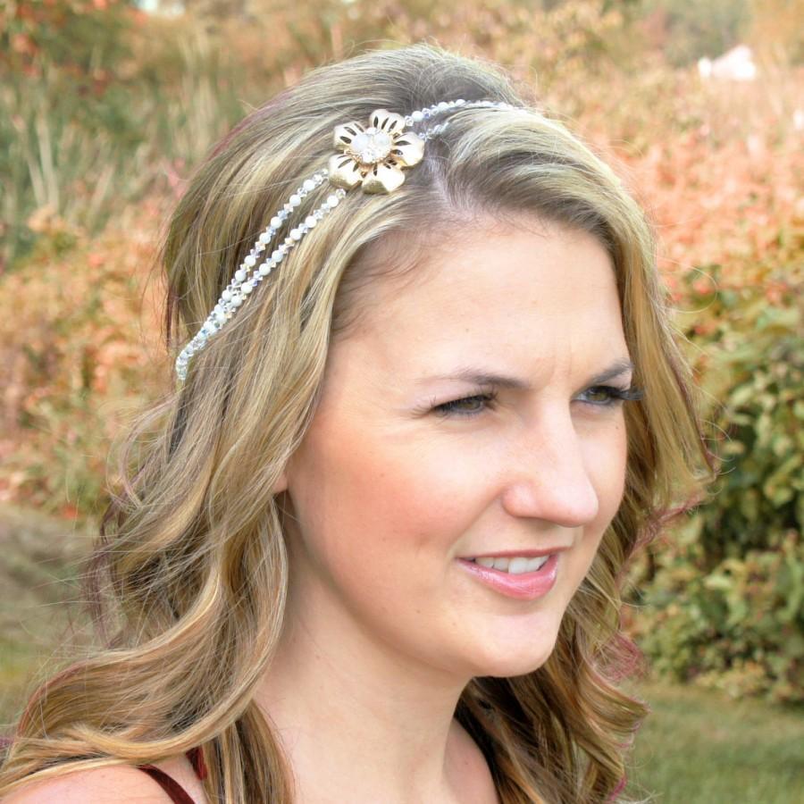 Grecian Bridal Headband - Ivory Pearl Wedding Headband - Mother of Pearl  Wedding Headband - Tie Headband - Gold Wedding Hair Piece 632f79e135d