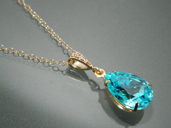 Wedding - Light Turquoise Crystal Necklace Swarovski Turquoise Rhinestone Gold Pendant Teal Teardrop Wedding Necklace Turquoise Gold Bridal Necklace