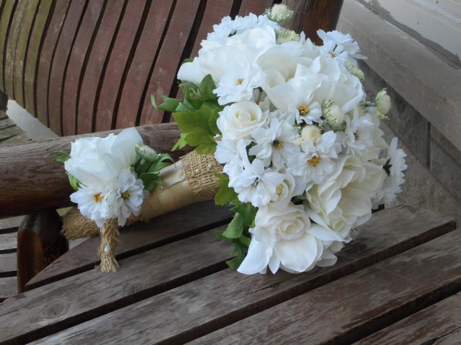 Rustic Wedding Bouquet / Anemone Rose And Daisy Silk Bridal Bouquet ...