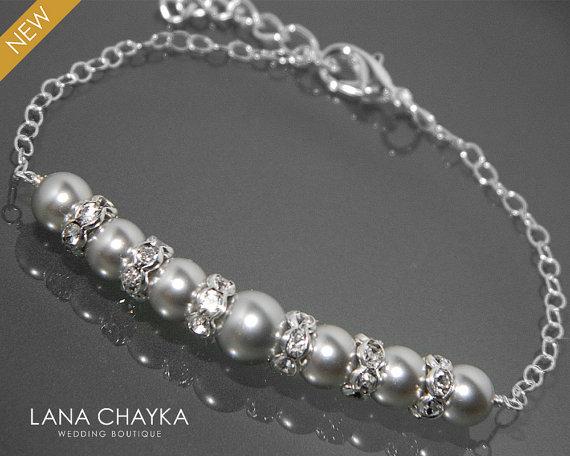 Hochzeit - Light Grey Pearl Bracelet Swarovski Pearl Sterling Silver Bracelet Wedding Light Gray Silver Bracelet Bridesmaids Bridal Pearl Bracelet