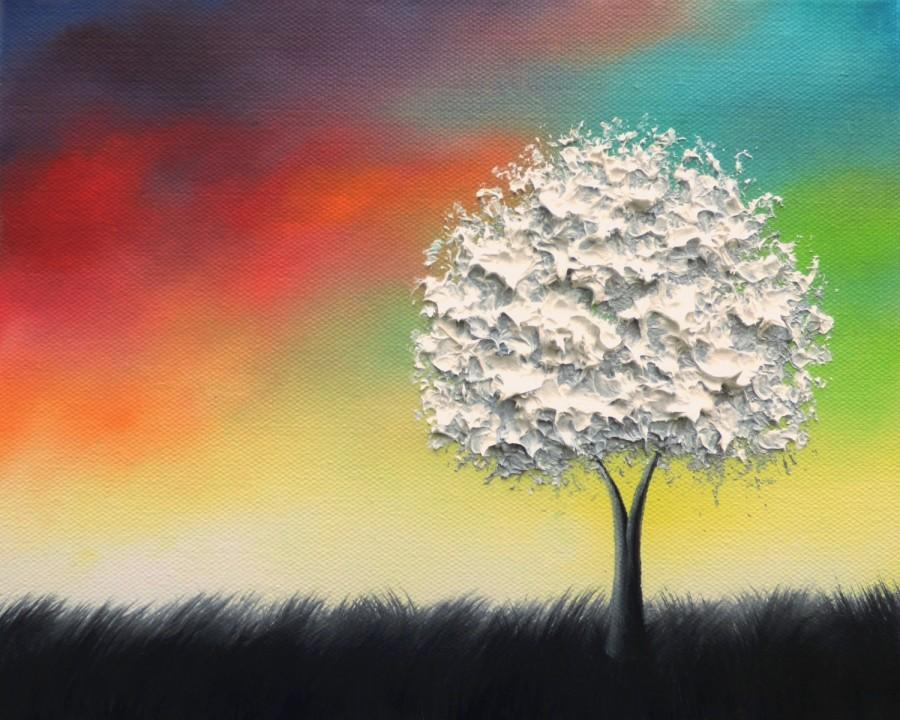 Textured White Tree Painting, Black And White Art, Colorful Original ...