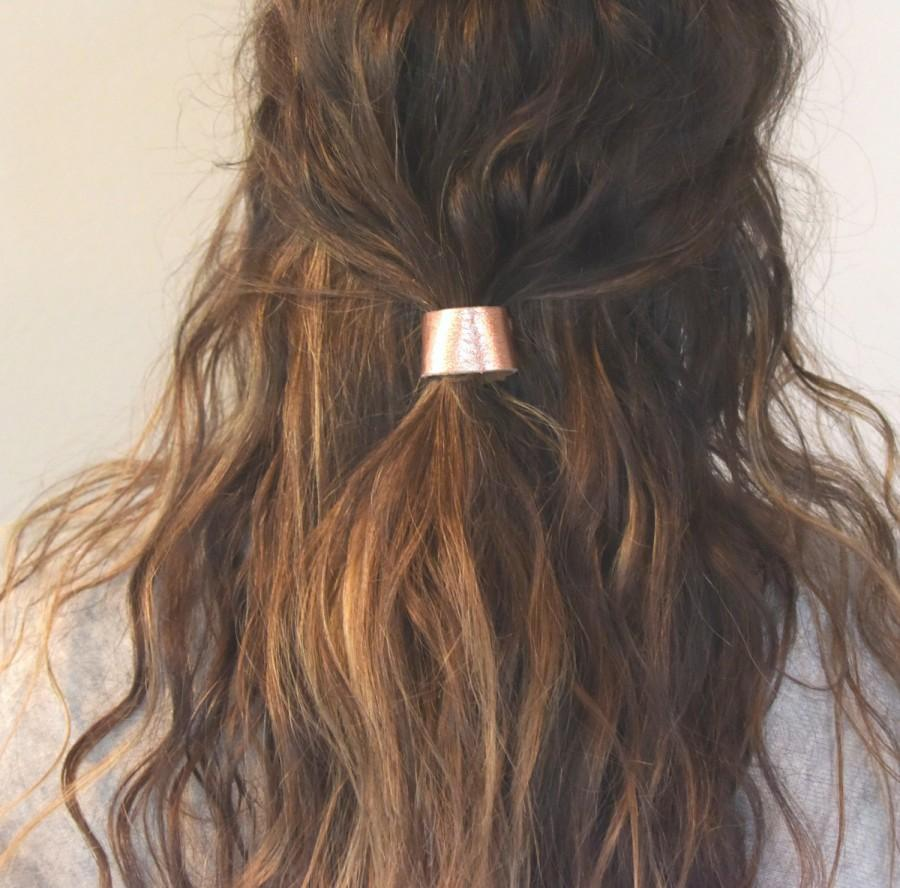 Leather Hair Cuff Ponytail Holder In Rose Gold Size Inches - Ponytail cuff diy
