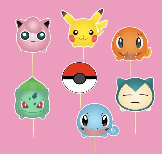 Mariage - Pokemon Cupcake toppers - Set of 14 Pokemon Cupcake toppers