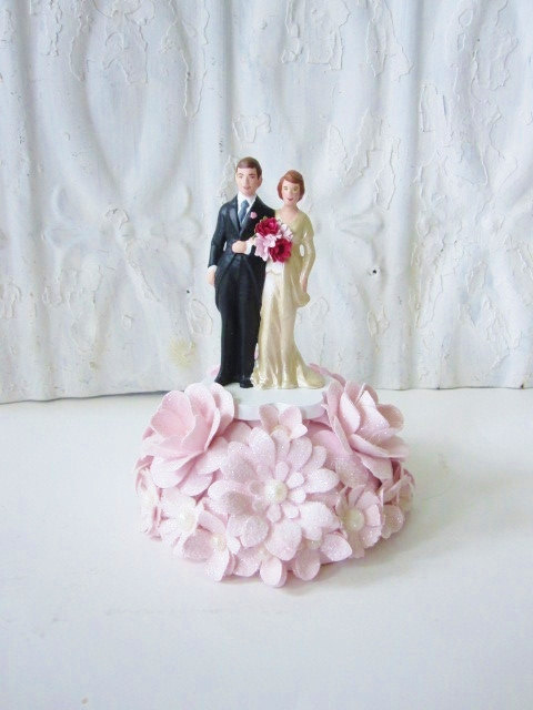 Mariage - Pink Paper Flower Handcrafted Plaster Cake Topper Vintage Inspired