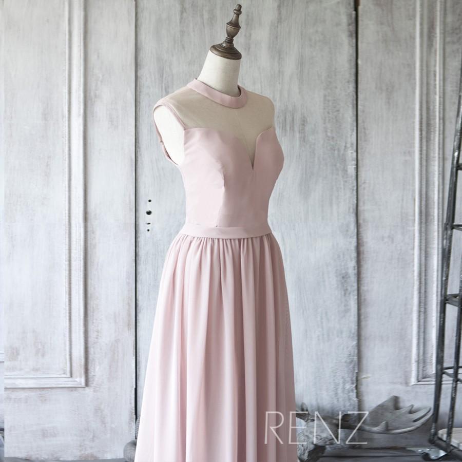 Boda - 2016 Dusty Thistle Bridesmaid dress Long, See Through High neck Prom dress, Sweetheart Wedding dress, Pleated Formal dress floor (F012C)