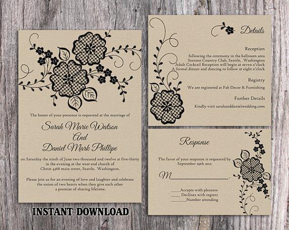 Hochzeit - DIY Lace Wedding Invitation Template Set Editable Word File Download Printable Rustic Wedding Invitation Burlap Vintage Floral Invitation