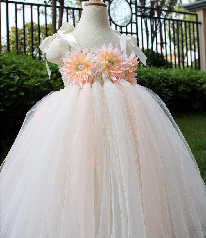 Wedding - Flower Girl Dress Blush peach Ivory tutu dress baby dress toddler birthday dress wedding dress 1T 2T 3T 4T 5T 6T